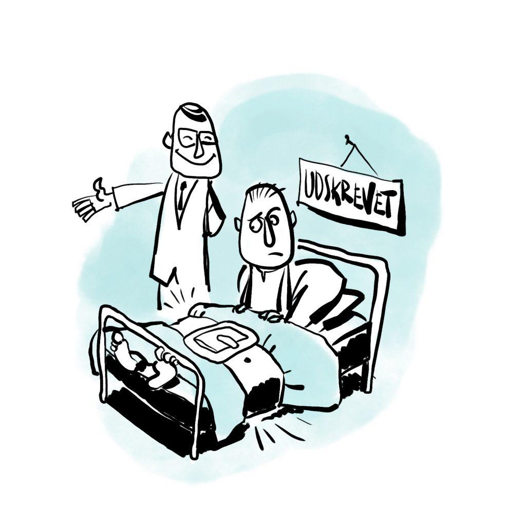 Tegning af fastlåst sengeliggende mand der bliver udskrevet