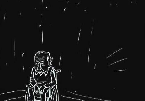 Tegning af ældre deprimeret mand i kørestol der sidder alene