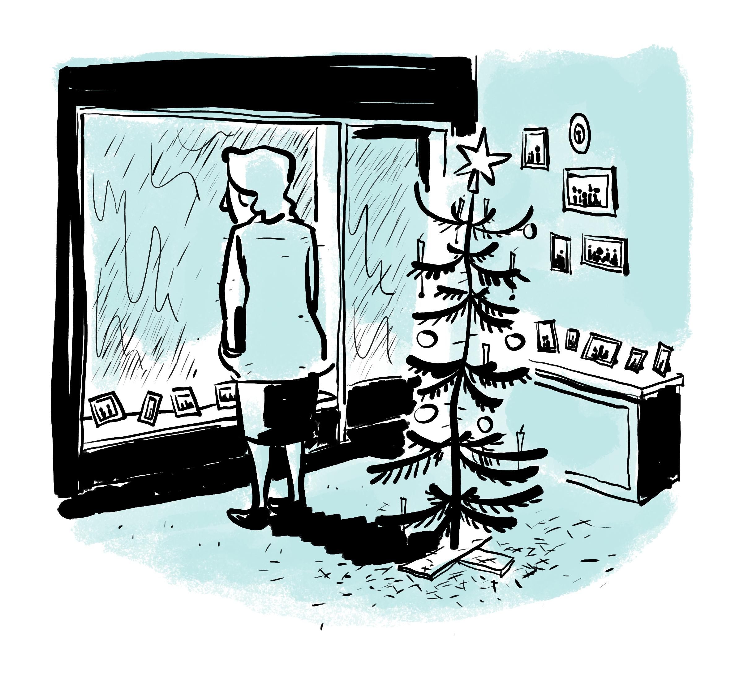 Tegning af en ensom kvinde står alene juleaften