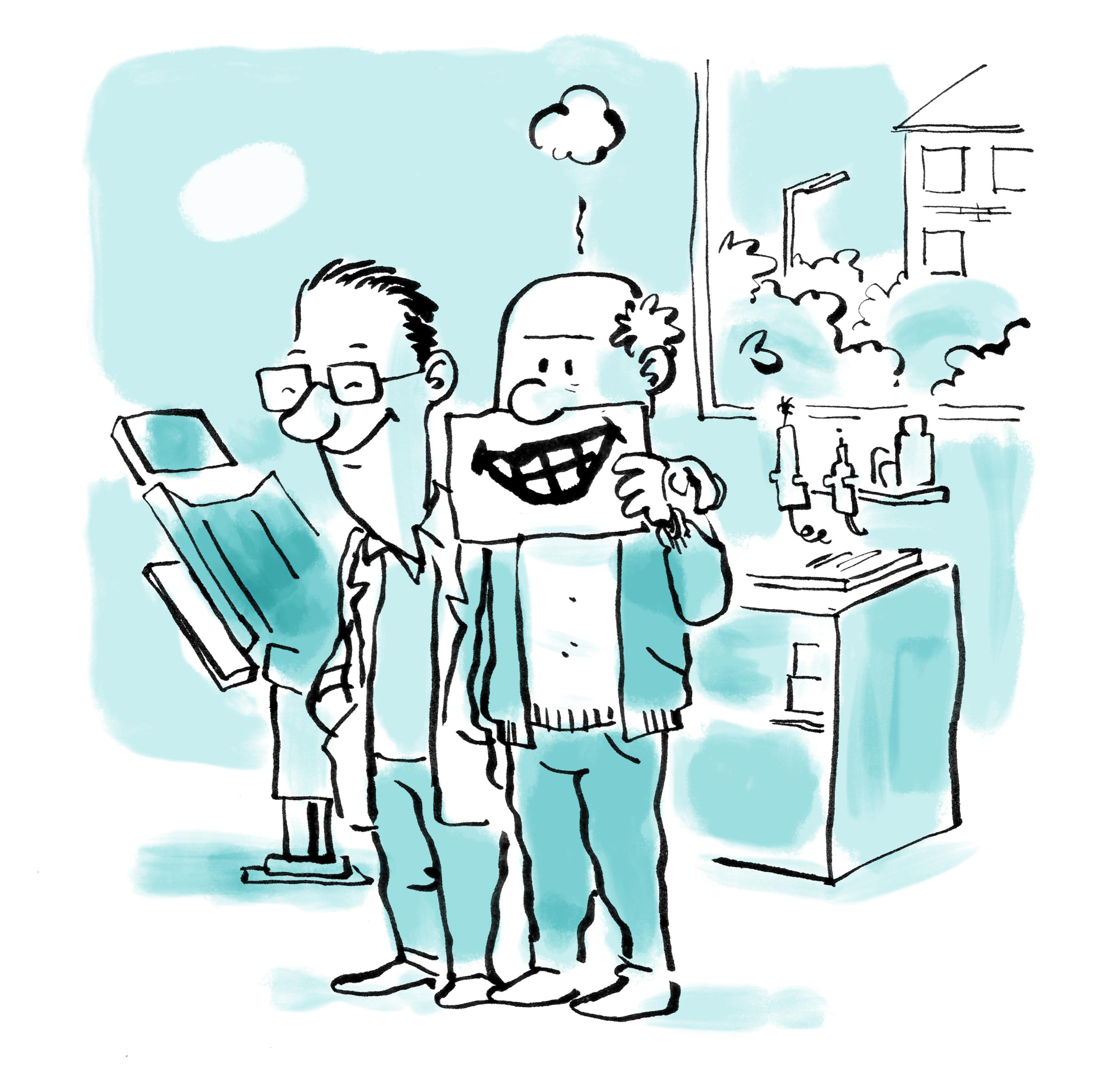 Tegning af ældre mand der har været til tandlægen