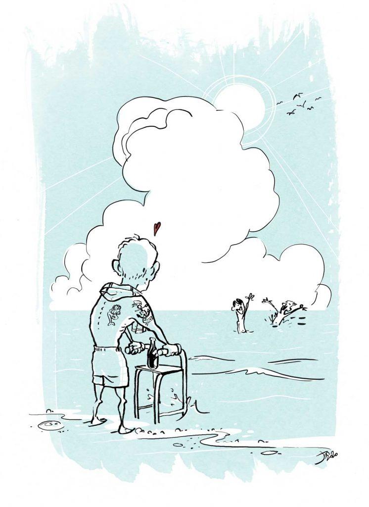 Tegning af ældre mand med gangstativ på stranden
