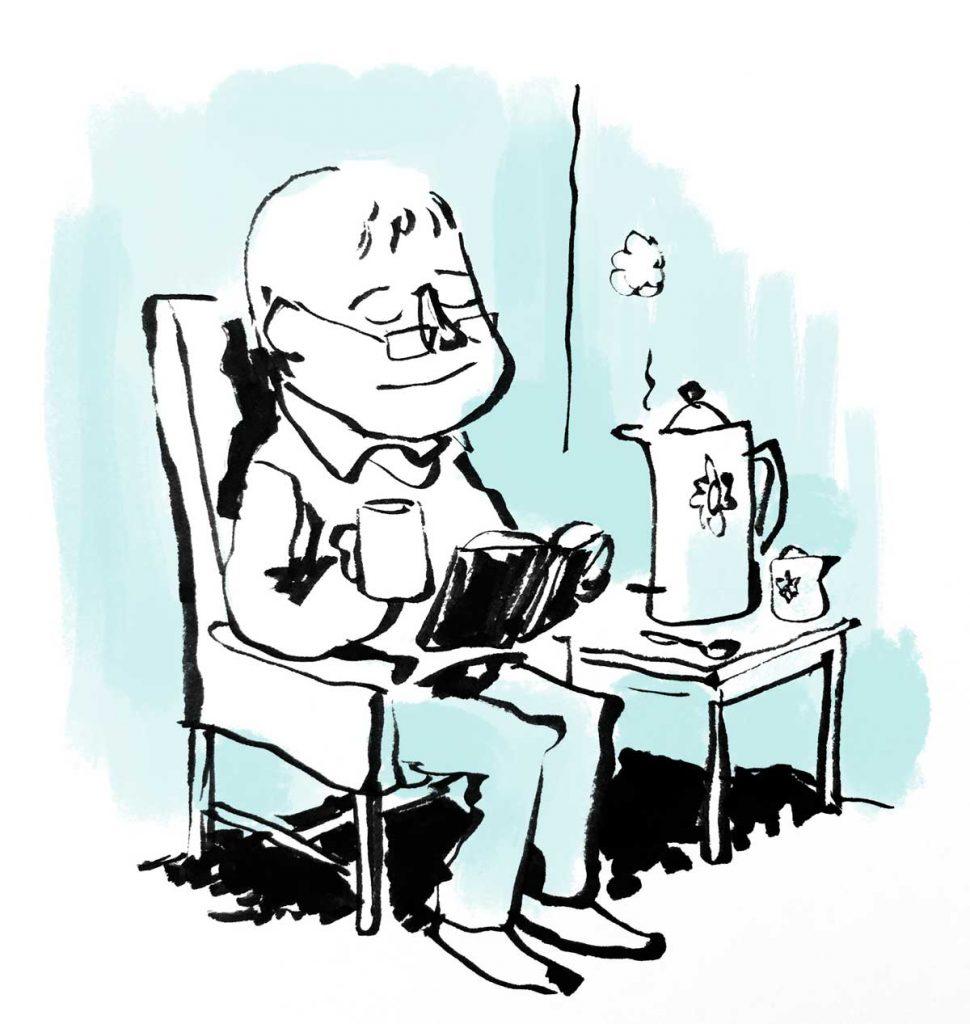 Tegning af person der nyder en kop kaffe og læser en bog