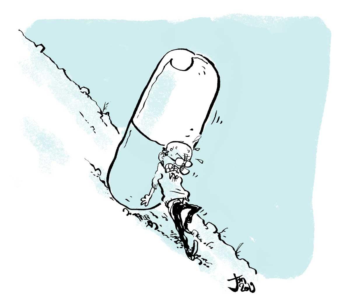 Tegning af ældre mand der skubber en stor medicin pille op af et bjerg